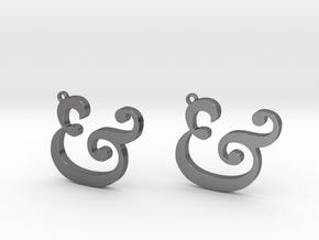 Ampersand Earrings (Caslon Pro Italic) in Polished Nickel Steel
