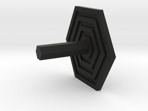 Key Hanger - Hexagon Design in Black Natural Versatile Plastic