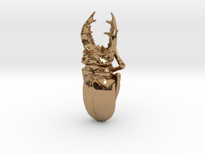 Large Silver Stag Beetle in Polished Brass