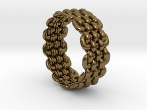 Wicker Pattern Ring Size 6 in Polished Bronze