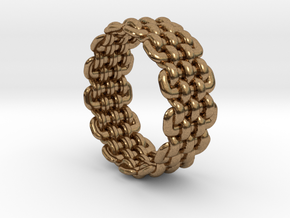Wicker Pattern Ring Size 5 in Natural Brass