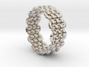 Wicker Pattern Ring Size 5 in Rhodium Plated Brass