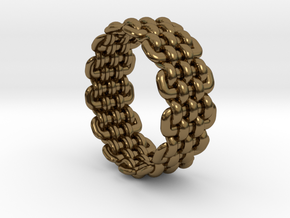 Wicker Pattern Ring Size 8 in Polished Bronze