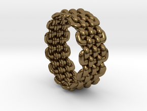 Wicker Pattern Ring Size 9 in Polished Bronze