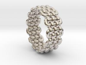 Wicker Pattern Ring Size 9 in Rhodium Plated Brass