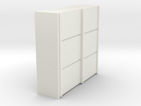 A 011 sliding closet Schiebeschrank 1:87 in White Natural Versatile Plastic