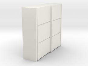 A 011 sliding closet Schiebeschrank 1:87 in White Natural Versatile Plastic