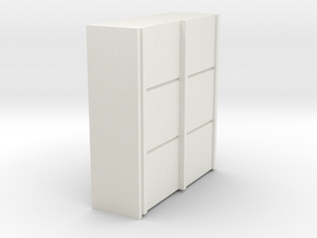 A 015 sliding closet Schiebeschrank 1:87 in White Natural Versatile Plastic
