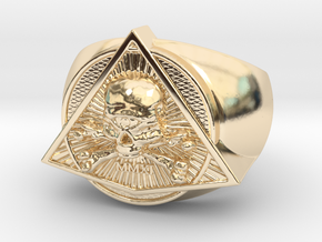 Saint Vitus Ring Size 9 in 14k Gold Plated Brass