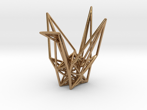 Origami Crane Wireframe in Polished Brass