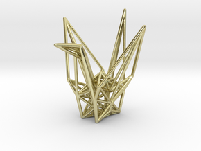 Origami Crane Wireframe in 18k Gold Plated Brass