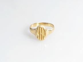 Women's Signet Ring with Traditional Monogram in Fine Detail Polished Silver