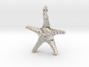 Starfish Pendant 1 - small in Rhodium Plated Brass