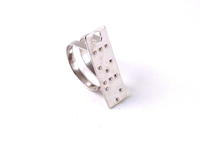Adjustable ring. Love in Braille. in Natural Silver