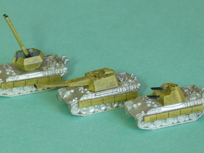 Flakpanther, 3 diff. Turrets 1/285 6mm in Smooth Fine Detail Plastic