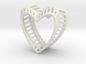 Bony Heart in White Natural Versatile Plastic