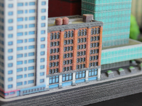 New York Set 1 Apartment Building with Shops 3 x 2 in Full Color Sandstone