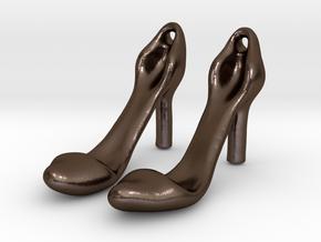 Classic Heels Earrings No. 1 - Size 1 in Polished Bronze Steel