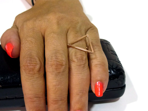 Triangle ring shape. in 14k Rose Gold Plated Brass