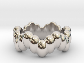 Biological Ring 25 - Italian Size 25 in Rhodium Plated Brass