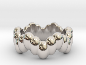 Biological Ring 28 - Italian Size 28 in Rhodium Plated Brass