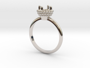 Bead Ball Mount Engagement Ring in Platinum