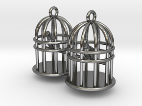Bird Cage Earrings in Fine Detail Polished Silver