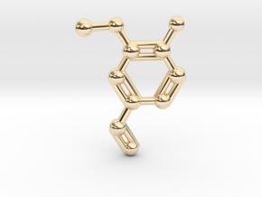 Vanillin (Vanilla) Molecule Necklace Keychain in 14K Yellow Gold