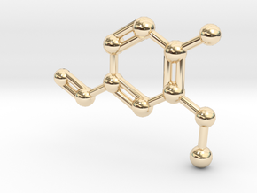 Vanillin Molecule Big (Vanilla) Necklace Pendant in 14K Yellow Gold