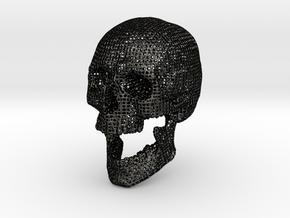 Wire Frame Human Skull Life Size in Matte Black Steel