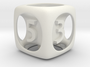 Fred's D6 6-sided Die  in White Natural Versatile Plastic