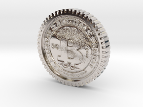 Bitcoin high detail in Rhodium Plated Brass