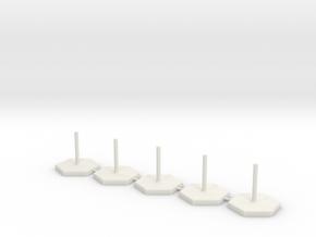 Hexagon Stand 1 Inch / pole diameter 0,1  in White Natural Versatile Plastic