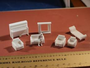 Living Room Stuff collection 2 HO Scale in White Natural Versatile Plastic