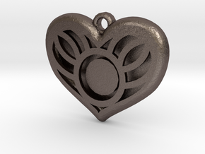 You Are In My Heart Pendant in Polished Bronzed Silver Steel