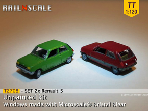 SET 2x Renault 5 (TT 1:120) in Smooth Fine Detail Plastic