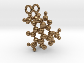 Caffeine 3D molecule for earrings in Natural Brass