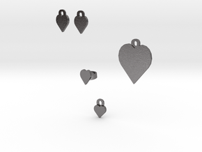 heart jewelry set in Polished Nickel Steel