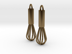 Whisk Earrings in Polished Bronze