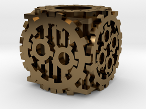 Steampunk D6 in Polished Bronze