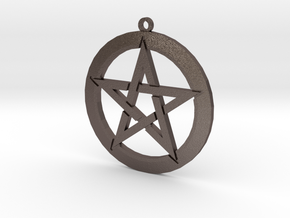 Pentagram in Polished Bronzed Silver Steel