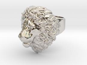 Calm Lion Ring in Platinum
