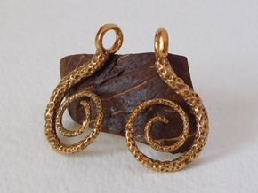 Spiral Earrings Textured in Raw Bronze