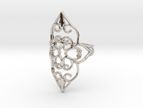 Bloom - size 5 in Rhodium Plated Brass