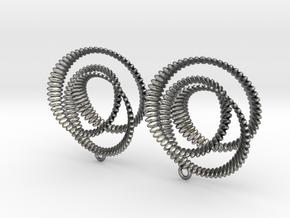 Coil 2 3 Variation V1 Earrings in Fine Detail Polished Silver