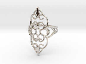 Bloom - size 7 in Rhodium Plated Brass