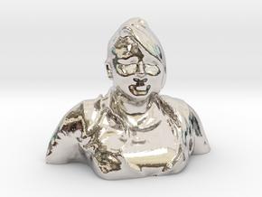 HUGE PRISCILLA HEAD in Rhodium Plated Brass