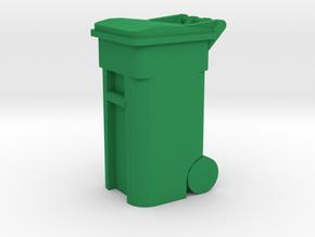 Trash Cart 64 gal - HO 87:1 Scale in Green Processed Versatile Plastic
