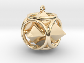 Diamond-Pendant in 14k Gold Plated Brass