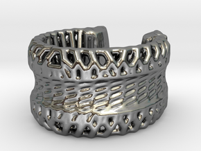 Voronoi Light Weight Ring in Polished Silver